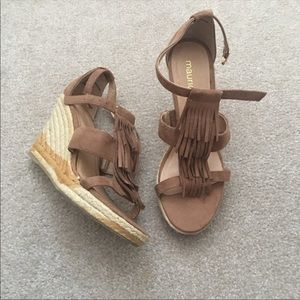 Maurice's tan Suede Fringe wedge sandals